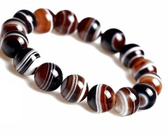10mm Brown Lace Agate Bracelet, Brown Agate Bracelet,Brown Banded Agate Bracelet, Brown Agate Bead Bracelet Women, Agate Stretch Bracelet