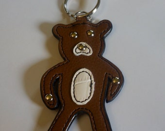 Leather Teddy Bear; Key Chain; Brown Leather; Approx. 6 inches Long; Silver-Toned Ring; Clasp
