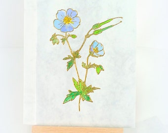 Vintage Letterpress Scottish Wildflower Handmade card Wildflower card Gold embossed Hand painted Watercolour Blank card Friend mcrtycards UK