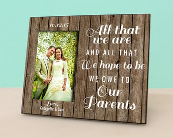 Parent Wedding Gift - Personalized Picture Frame - Rustic Wood Photo Frame Personalized - In Law Gift - Parents Thank You Gift -PF1147