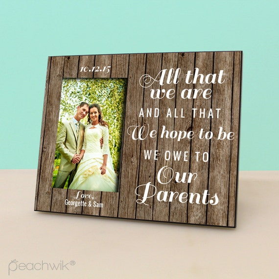 Parent wedding gift personalized picture frame rustic wood for Best gifts for parents for wedding
