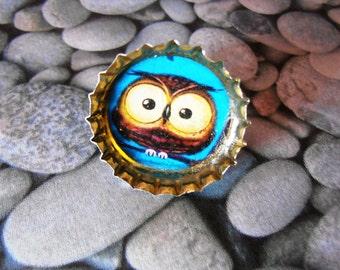 Owl Illustration Bottle Cap Resin Ring Recycled Handmade Jewelry