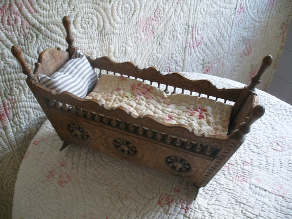 Antique French Doll Bed With Ticking Mattress Amp Roses Quilt