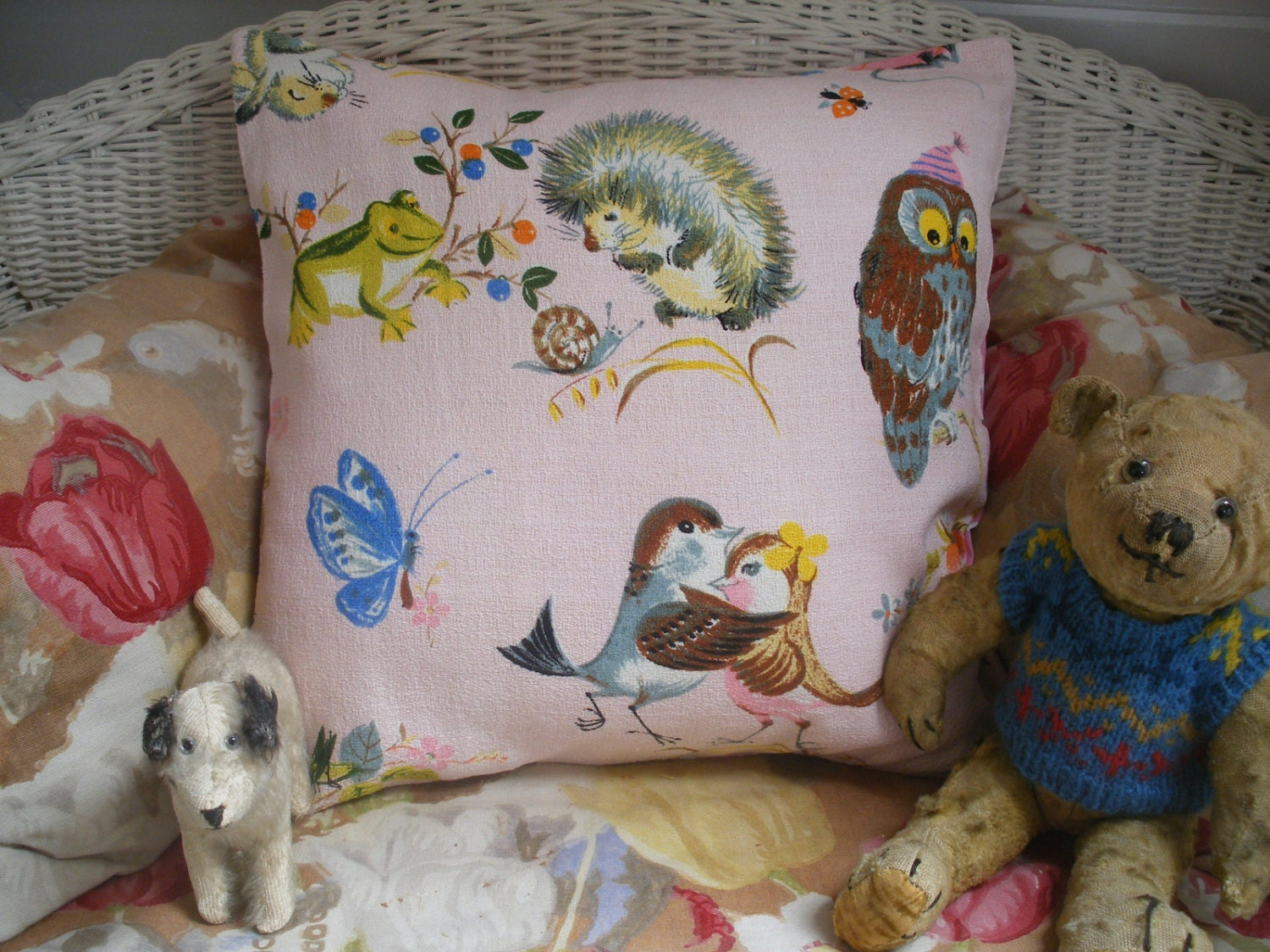 Vintage nursery print barkcloth fabric cushion by for Nursery print fabric