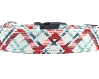 White Red Blue Americana Plaid/Tartan Preppy Dog Collar