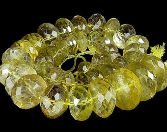 Splendid Vintage AAA Faceted Citrine Golden Color Beads Necklace For Jewelry 21mm