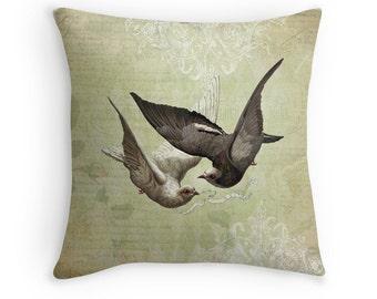 Wedding Gift, Love Birds, Vintage Decor, Bird Cushion, I Love You, Gift for Girlfriend, Gift for Bride, Doves,Vintage Bird,Bird Throw Pillow