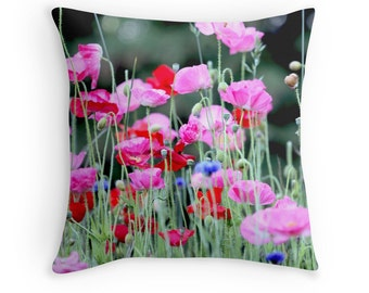 Poppy Cushion, Poppies, Poppy Decor, Gift for Gardener, Poppy Pillow, Wildflowers, Pink and Red Cushion, Floral Cushion, Flower Throw Pillow