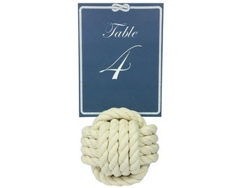 Monkey's fist rope table number holder
