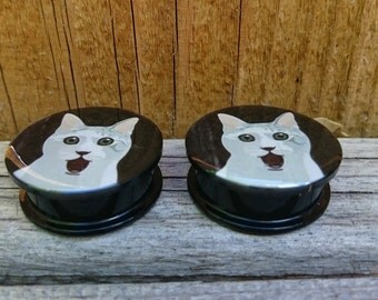 "Cute Cat Gauges, Plugs sizes 5,6,8,10,12,14,16,18,20,22, 25 MM / 3/16"" 1/4"" 1/3"" 3/8"" 1/2"" 9/16"" 5/8"" 00 gauge AA"