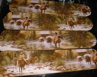Custom COWBOYS Riding Horses in Stream Mountains Mountains  Rustic CEILING FAN