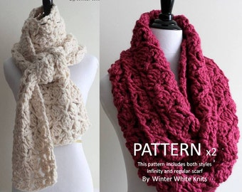 Crochet pattern- infinity scarf and regular scarf, PDF Instant Download Crochet Pattern, crochet scarf, DIY tutorial, pattern 0037