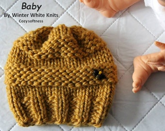 baby bee hat, knit baby hat, bumble bee baby hat, baby bee, knit kids hat, winter baby hat, baby gift, childrens winter hat, honey bee baby,