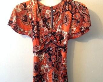 Orange Paisley 1960's Maxi Dress