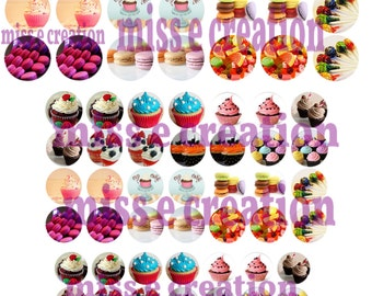 cupcakes digital images for round cabochon