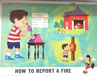 Vintage Disney Safety Poster 1960s HOW TO REPORT  a Fire.