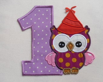 Number 1 Birthday Owl patch /  Fabric Embroidered Iron On Applique Patch / Ready to Ship