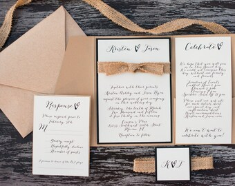 Burlap Knot Pocket Fold Wedding Invitation
