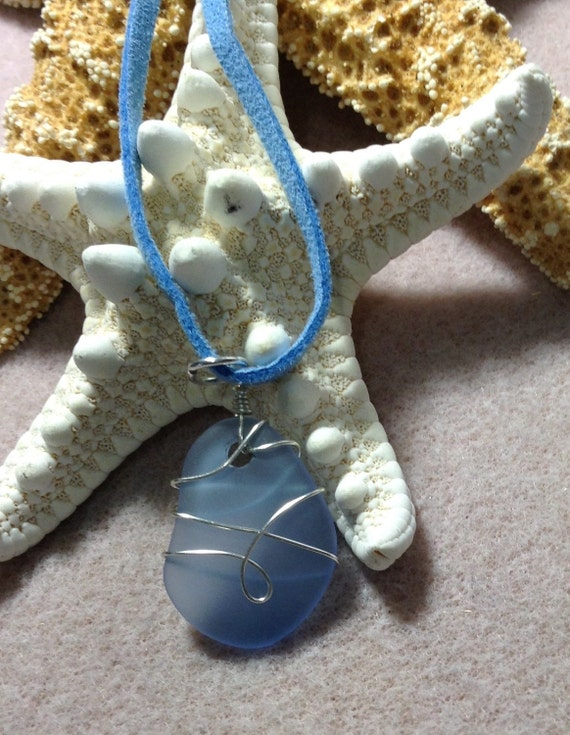 Blue Wire Wrapped Sea Glass (Recycled) on Blue Suede TG6171774