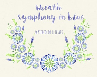 Clipart digital Hand Drawn. Cornflower blue flowers. Romantic wedding clipart, watercolors. Blue bright wreath for blog, invitations.