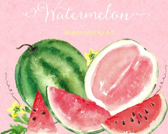 Watermelon watercolor clipart. Digital clipart hand drawn. SET Watermelon. Romantic wedding, tender fresh red fruits, fruit logo, juicy