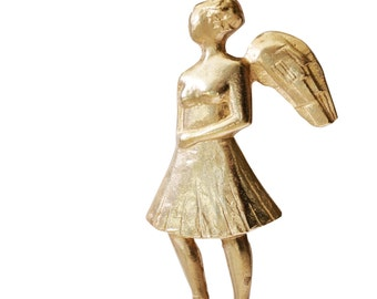 Angel Sculpture.Relief casted bronze sculpture on perspex stand.A female angel in a skirt from Greece.Handmade. Signed.Modern art.Greek Art.