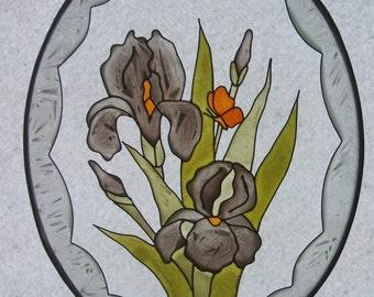 Suncatcher - Hand-painted on glass- 2 Irises & Butterfly