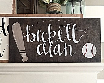 Nursery Decor | Hand Painted Wood Sign | Baseball Decor | Boy