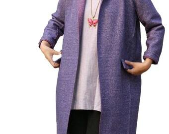 Lavender Purple Wool trench coat
