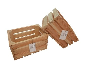 Wooden Crate Box 30x20x15cm natural