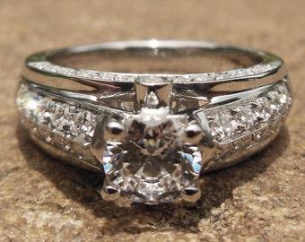 Free Shipping Solid 14K White Gold Ring Round 5.75MM Semi Mount Ring / Wedding & Engagement Ring