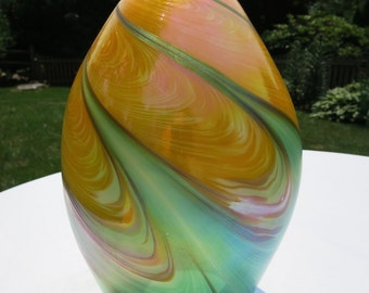 One of a Kind Green and Yellow Raked Vase