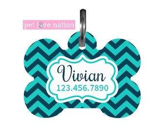 Personalized Pet Tag, Dog Tag, ID Tag, Blue Chevron Pet Tag With Name And Phone Number