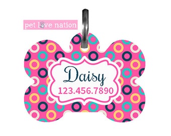 Personalized Pet Tag, Dog Tag, ID Tag, Circles Pet Tag With Name And Phone Number