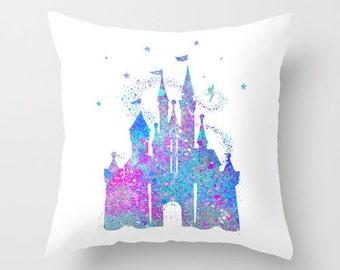 Cinderella's Castle Throw Pillow Cover Tinkerbell Art Cinderella Castle Decorative Pillow Cover Pink Magenta Aqua Nursery Decor Home Decor