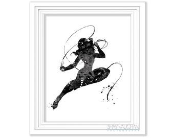 Wonder Woman Art Print Black and White Superhero Art Painting Home Decor Children's Wall Art Fine Art Illustration Wonder Woman Fan (No.257)