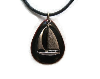 Sailboat Necklaces, Yachting, Nautical, Tropical, Summer Necklaces, Jewelry, Accessories, silver, Free Shipping*, #80131-1