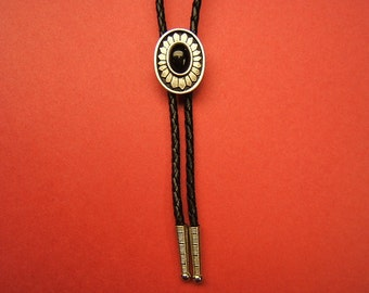 Bolo Tie, Bolos, Neckties, Ties, Indian, Concho, Western, Southwestern, Boho, Jewelry, pewter, black cabochon, Free Shipping*, #1084B-8C,