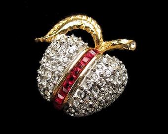 Vintage Invisibly Set Crystal Rhinestone Apple Fruit Figural Pin Butler