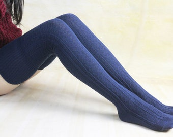 Navy Blue Warm Winter Legwear Knit High Boot Socks Thigh High Knit Socks Knee Socks Thigh High Sock For Womens Boot Socks 1067