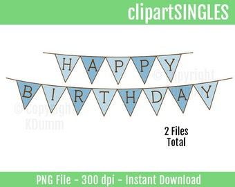 Clipart, Happy Birthday Banner, Pendant Banner Flags, Birthday Party