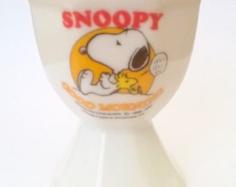 Snoopy egg cup vintage good morning peanuts snoopy and woodstock
