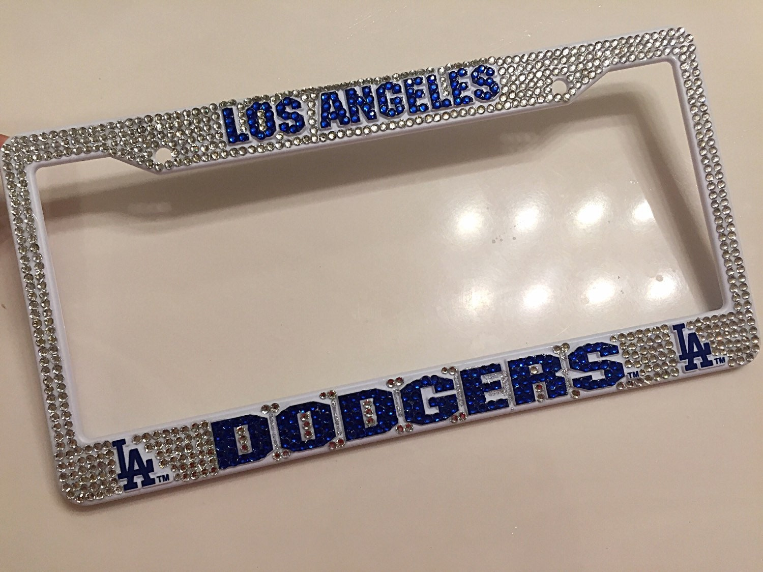los angeles team baseball inspired bling license plate frame sports license plate frame bling license plates baseball license plate
