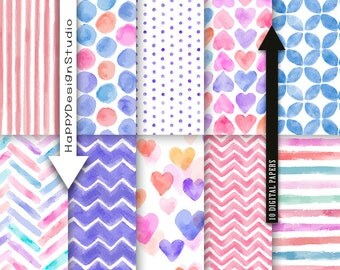 "Pink & blue watercolor digital paper pack 12""x12"" instant download baby shower girly cute pattern it's a girl watercolour hand painted heart"