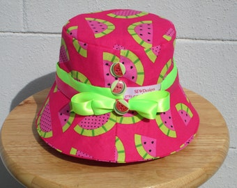 Toddler Bucket Hat Watermelon with buttons and bows!