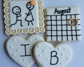 1 Dozen Engagement  Cookies, Bridal Shower, Proposal Cookies
