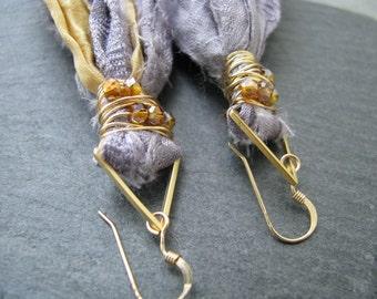SALE~Sari silk tassel earrings, fair trade recycled silk,gray purple textile fiber,gold triangles,bohemian jewelry, geometric tassel jewelry