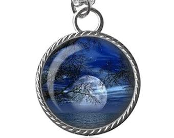 Blue Moon Necklace, Full Moon At Night Image Pendant Key Chain Handmade
