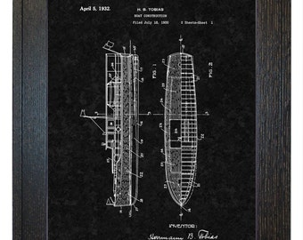 Framed Patent Art - Boat Construction WITH Real Rustic Wood Frame - Framed Patent Print