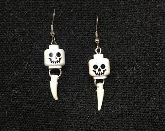 Whimsical LEGO® Skull and Claw Dangle Earrings